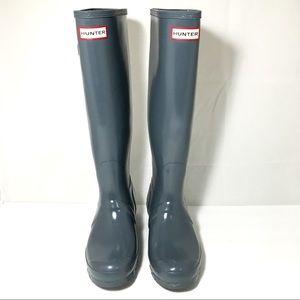 Hunter Grey Rain Boots Knee High